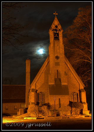 Moonrise at Trinity Church